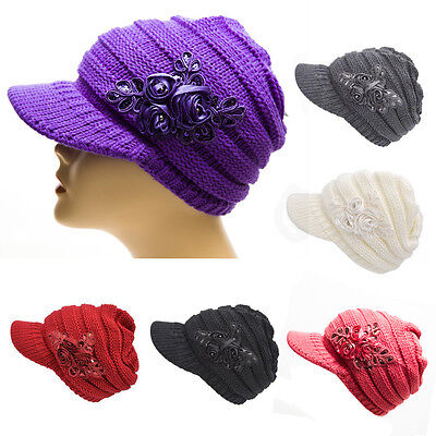 Winter Women's Cable Knit Visor Warm Hat with Flower Accent Multi-Color Hat