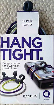 Quirky Bandits Hang Tight Bungee Hooks Cords Rubber Elastic Bands 10 Pack