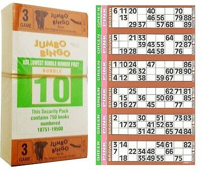 1500 Books 3 Page (Games) 6 To View (Strips Of) Jumbo Bingo Tickets Sheet