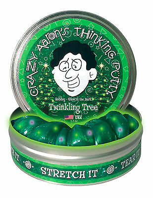 Crazy Aaron's Thinking Putty, TWINKLING TREE, Glow, Includes UV Torch, 10cm Tin