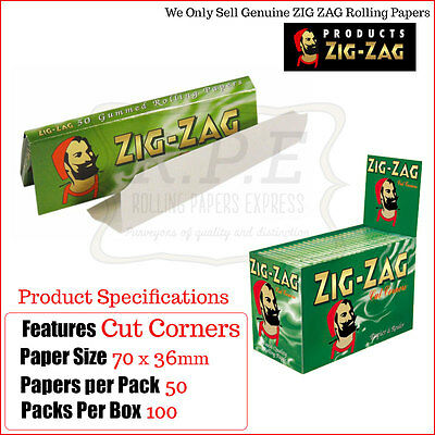 Zig Zag Green Regular/Standard Size Cigarette Rolling Papers - One Full Box