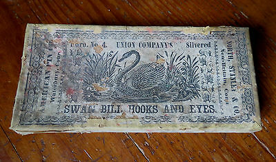 BOX FOR SWAN BILL HOOKS & EYES - NORTH STANLEY & CO NEW BRITAIN CONN. 19th C