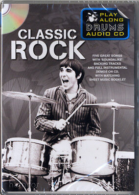 Classic Rock Play Along Drums Audio CD Drumming Backing Tracks & Music Booklet