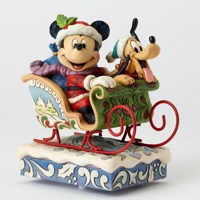 "ENESCO DISNEY CHRISTMAS DEKORATION ""MICKEY & PLUTO"" Jim Shore Spieluhr 4052003"