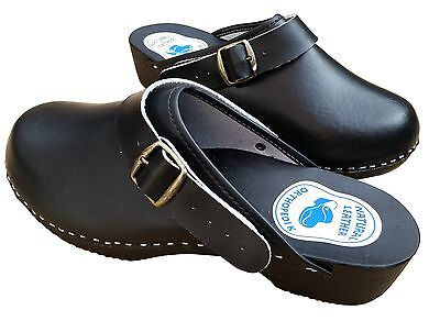Mens Work Clogs Garden Kitchen Nurse Hospital Slip On Leather Shoes Mules