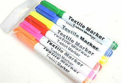 6 Fabric Markers Textile  Clothes T-Shirt Pens