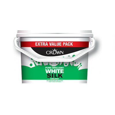 Crown Silk Emulsion 7.5 L Pure Brilliant White Wall & Ceiling Paint
