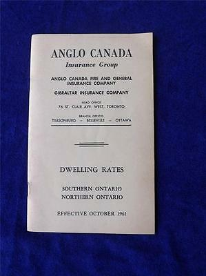 Anglo Canada Insurance Group Dwelling Rate Booklet Vintage October 1961 Canada