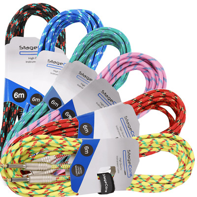 Stagg 6M Guitar Cable Lead Braided Vintage Tweed Style Electric Bass Acoustic