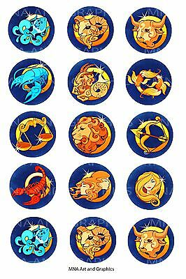 Zodiac sign Bottle cap IMAGES 1 inch - horoscope mix images - 1 inch circles