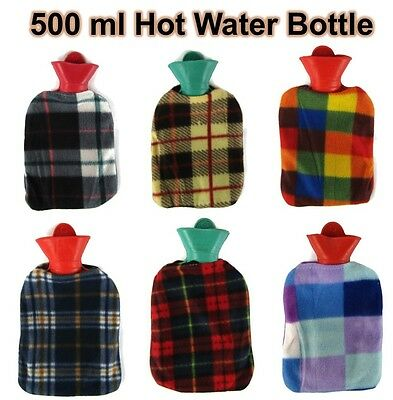New Mini Hot Water Bottle with Cover 500 ML Tartan Design Rubber Warmer Gift UK