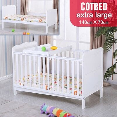 White Baby Pine Cot Bed Cot Top Changer Safety Junior Bed