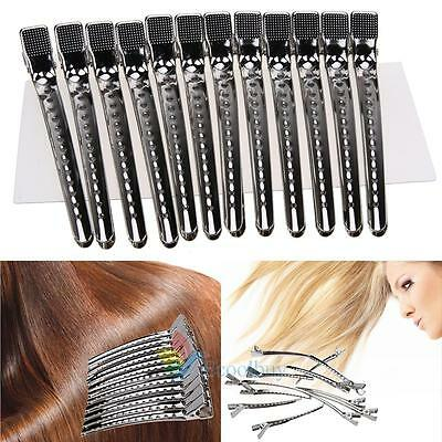 12x Hairdressing Salon Matte Sectioning Clamp Crocodile Hair Clips Hairpin Grip