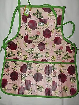 Garden Bib Apron Roses Print Canvas 6 Pockets Holds Tools Supplies by Maggi B