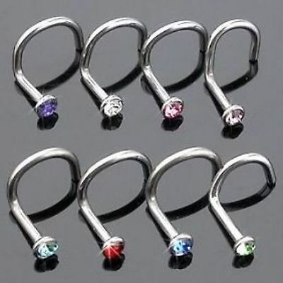 UK Surgical Steel Small Gem Crystal Screw Nose Stud Muti-Colours