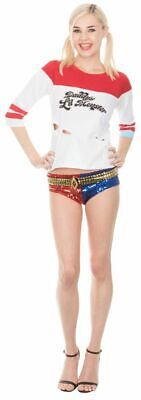 Women's Suicide Squad Movie Harley Quinn Daddy's Little Monster Top with Rips