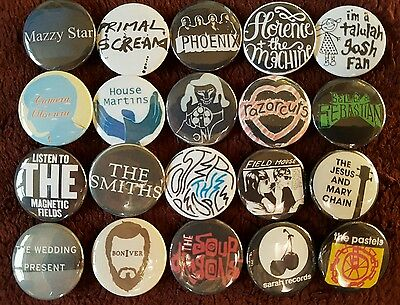 Indie Pop Button Badges x 20. Pins. Job lot. Collector. Wholesale.  Bargain :0)