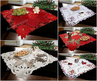 Square Christmas Tablecloths Embroidered 85 x 85cm Red Poinsettia Candles Xmas