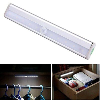 3 x Wireless PIR Motion Sensor 10 LED battery powered Cabinet Wardrobe Bright