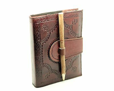 Refillable Handmade Leather Journal W/Pencil Bound Diary Blank Book Of Shadows