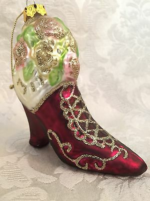 "Victorian Style Glass Granny Boot Christmas Ornament Red With Roses 3 3/4"" Tall"
