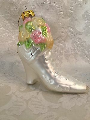 """Victorian Style Glass Boot Christmas Ornament White With Roses 3 3/4"""" Tall"""