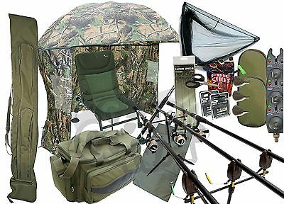 Carp fishing Set Up 3 Rods Reels With Rodholdall Carryall Shelter Chair & Tackle