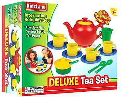 Tea Set Kidzlane Play 16 Durable Plastic Pieces Safe and BPA Free for Children