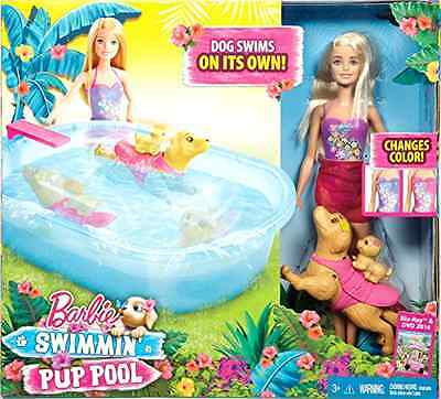 Barbie Swimmin Pup Pool Set with Puppy Collectible Character Pretend Play Toys