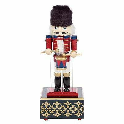 12'' Wooden Collectable Christmas Nutcracker with Wind Up Musical Box