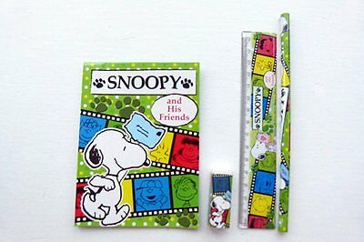 Peanuts Snoopy and His Friends 4 pieces Colourful Stationery Set (Green)