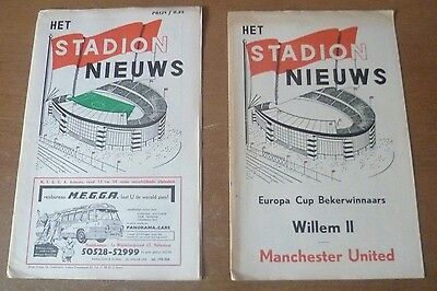 Willem II v Manchester United, 1963/64 - Cup Winners Cup 1st Rd Both Programmes.
