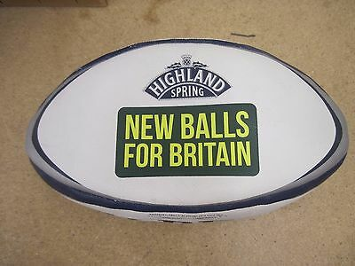 Gilbert Zenon Rugby Training Ball Highland Spring Size 5 White/Blue/Gray