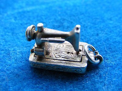 Vintage Sterling Silver Charm Sewing Machine Opens