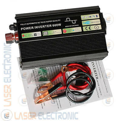 Inverter ad Onda Modificata 600W IN:12V DC OUT:220V AC Potenza di spunto 1000W