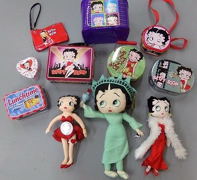 11 Piece Lot of Betty Boop Plush Dolls, Tins and Purses ~ Statue of Liberty