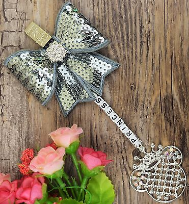 Personalised stunning pram charm in Grey color girls boys sequin Bow
