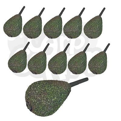 10x Carp Fishing Inline shape Lead Weights Textured Weed Green 1.5oz 2oz 2.5oz