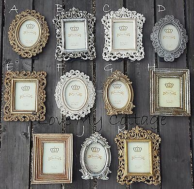 Vintage Shabby Chic Cream Gold Lace Photo Picture Frame Oval Square Wedding Gift
