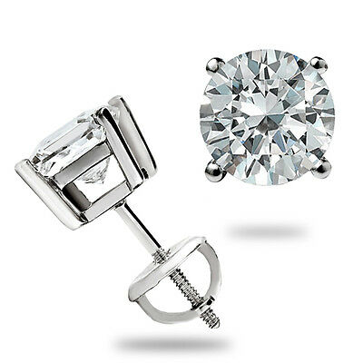 1.10 Round Cut Solitaire Stud Earrings Lab E VVS2 Screwback Real 14k White Gold