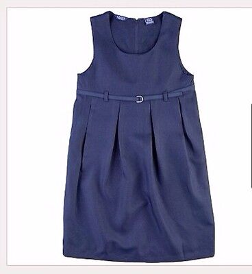 Chaps Pleated School Uniform Jumper Dress Navy Girls Clothes Size 7 / Small