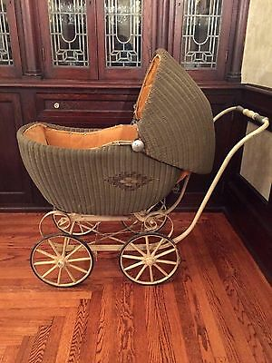 "Large Antique Vintage Rattan Wicker Baby Carriage With Corduroy Lining 45"" Long"