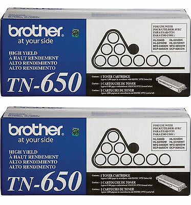 2 New and Unused Brother TN650 Toner Cartridge TN-650 Out of Box and Bag