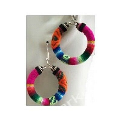 New Earrings Peru Dangle Manta Hoops Artisan Made One of a Kind Unique Hand Made