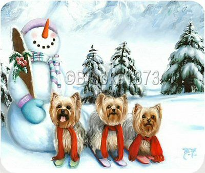 Yorkshire Terrier Christmas mouse pad YORKIES SNOWMAN YORKIE puppies dog ART