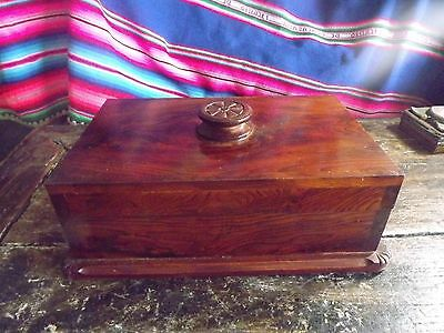 Vintage Cigar Humidor Or Box Matched  Figured Wood 11 X 7 X 4In
