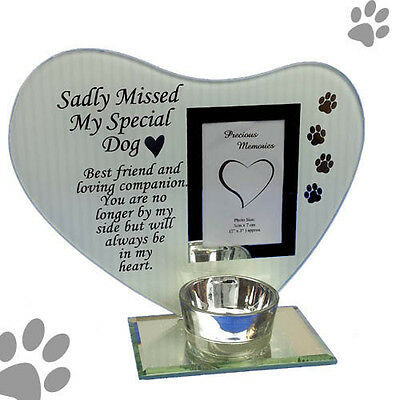 photo & poem plaque with tea light candle holder sadly missed my special dog
