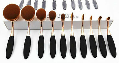 2016 Professional Pro Toothbrush Shape Makeup Oval Puff  10x Gold Brush+Kylie