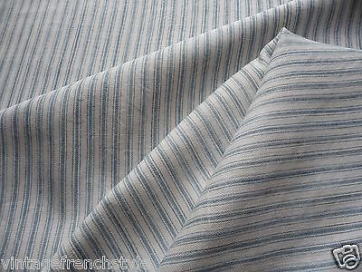 Antique French Linen Fine Pale Blue Stripe Original French Linen Ticking