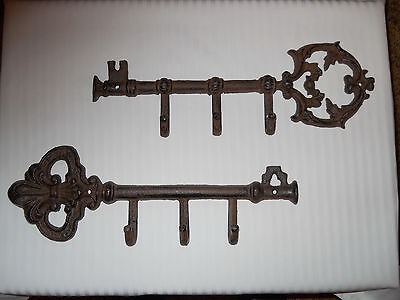 Decorative Old Fashioned Metal Keys w/ Hooks - Set of 2 -  13 Inches - NEW
